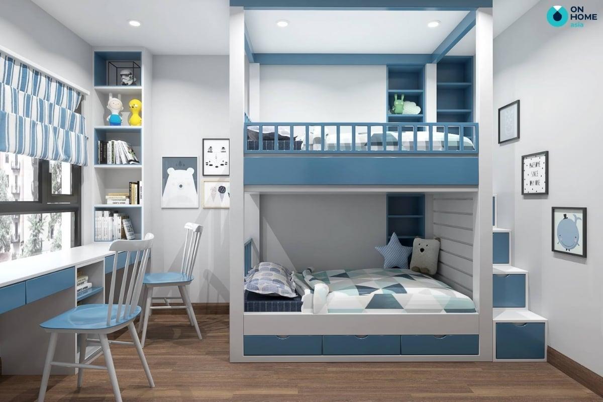 Sử dụng màu xanh trong thiết kế nội thất phòng ngủ bé trai