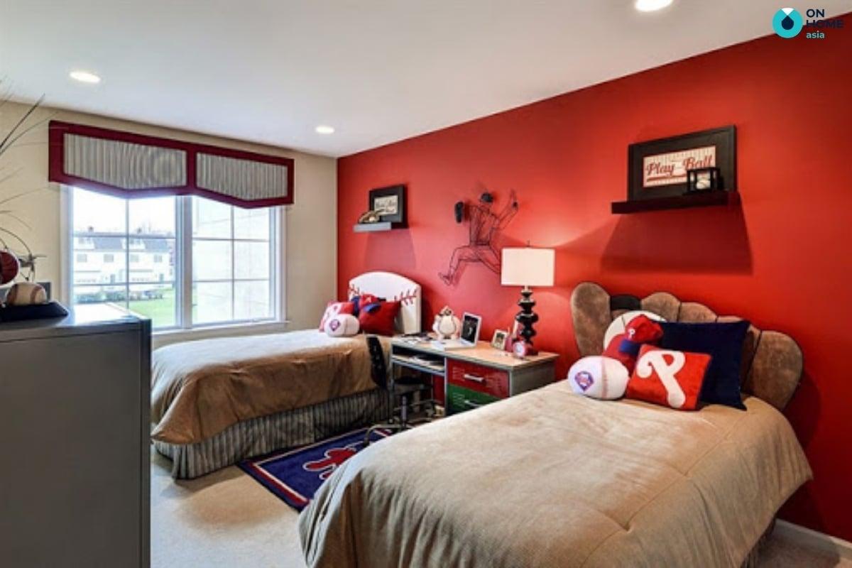 Sắc đỏ trong thiết kế nội thất phòng ngủ bé trai