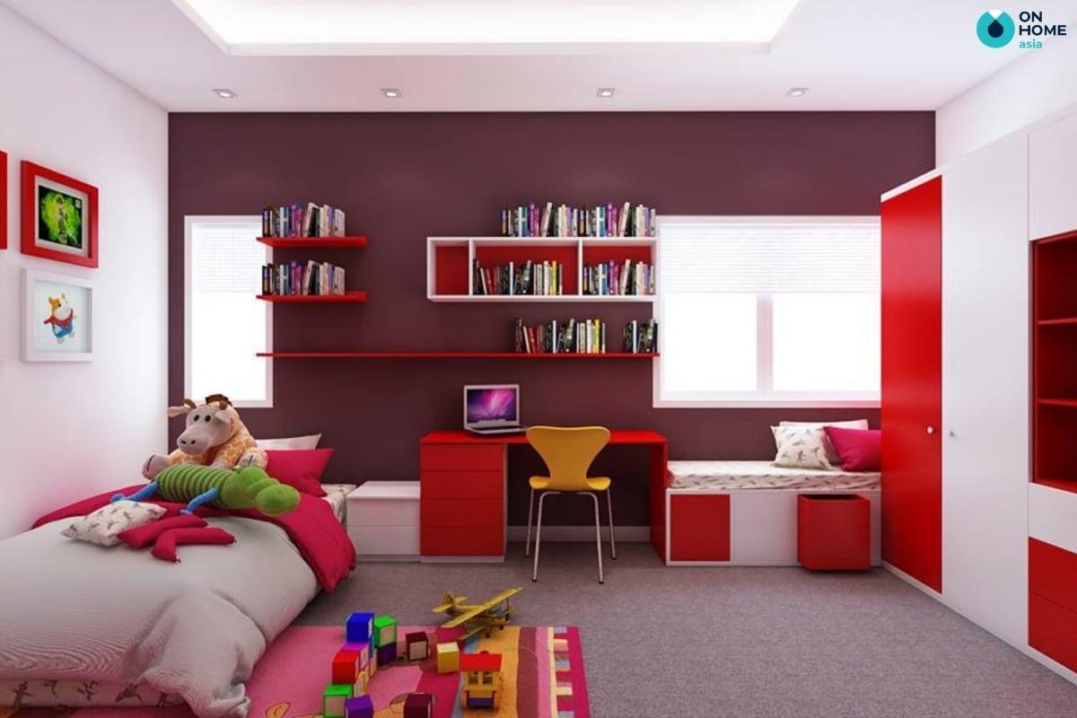 Màu đỏ cho thiết kế phòng ngủ bé trai