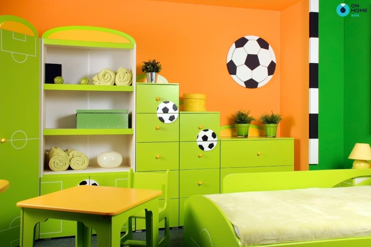 Sắc xanh trong thiết kế nội thất phòng ngủ bé trai
