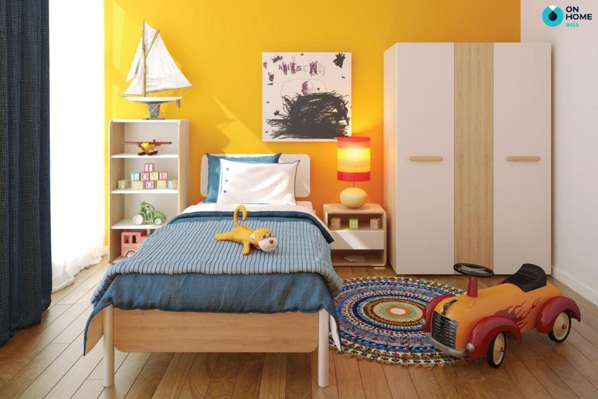 Sắc vàng trong thiết kế nội thất phòng ngủ bé trai