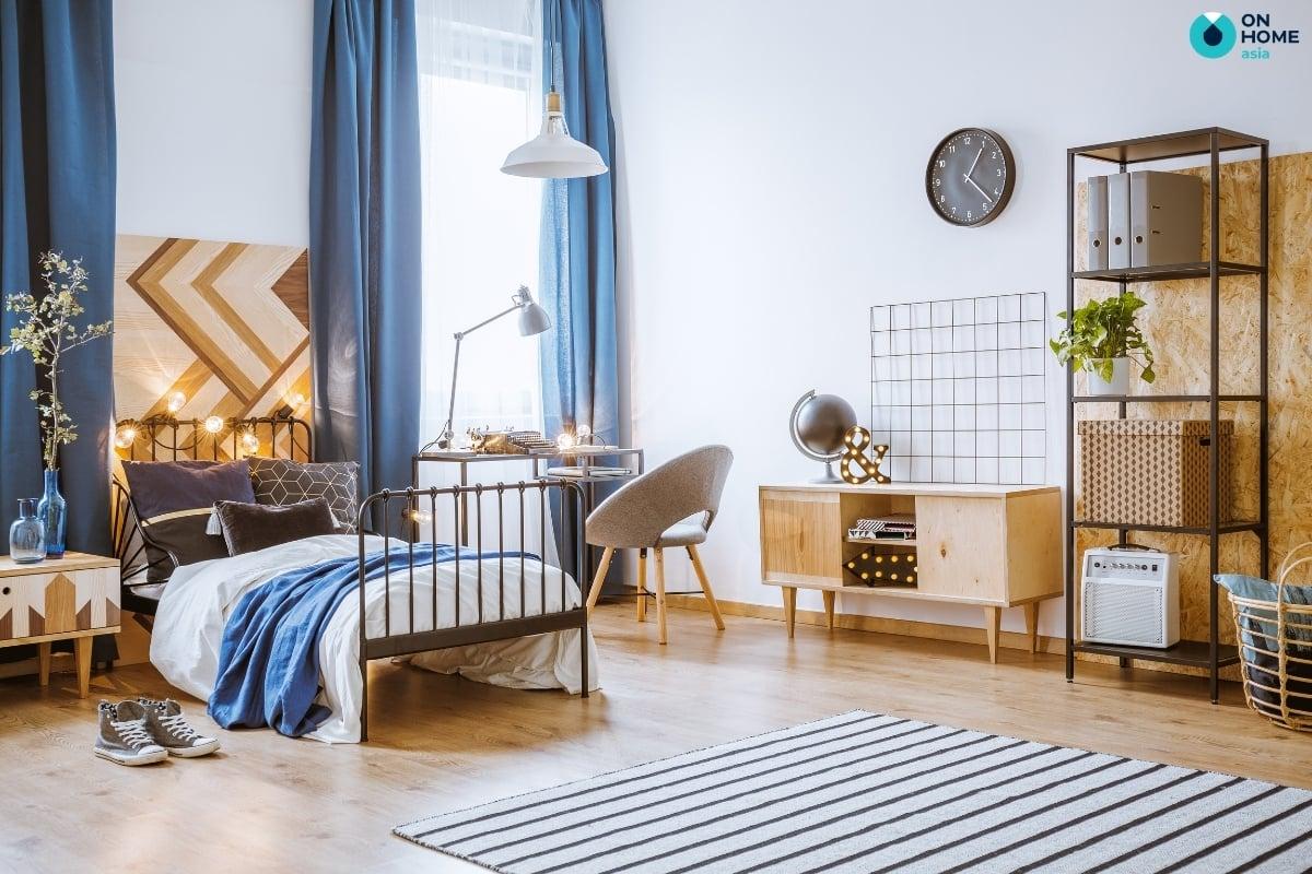 Màu xanh dương trong thiết kế nội thất phòng ngủ bé trai