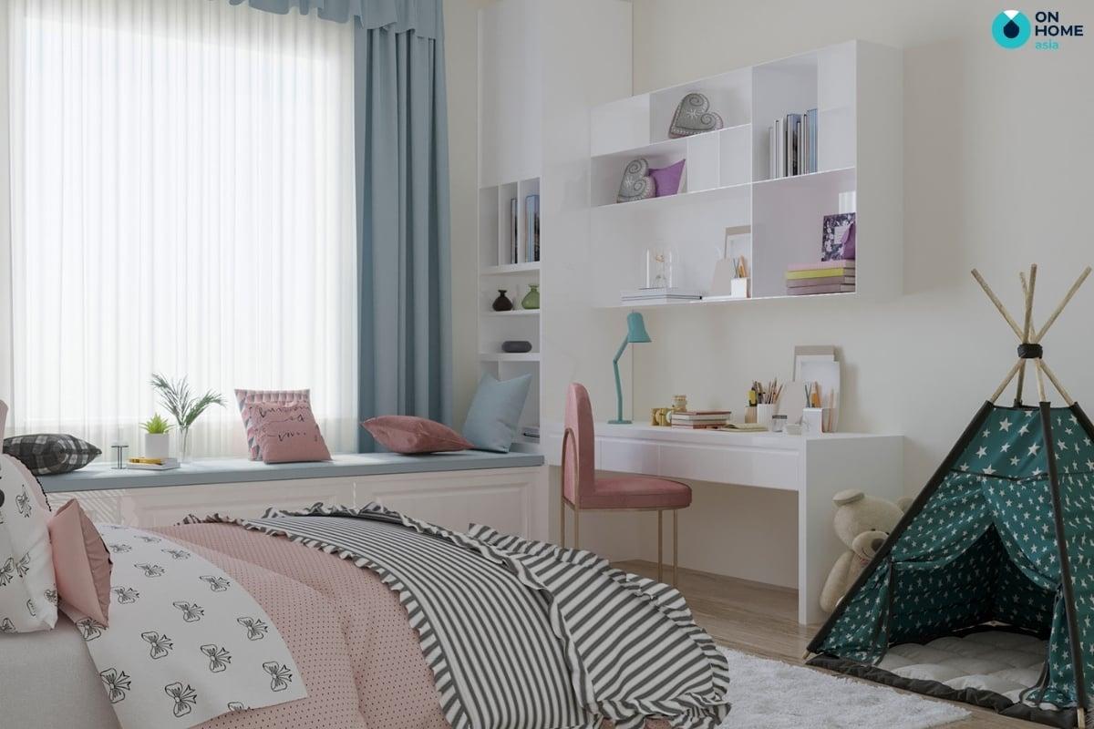 màu hồng phòng ngủ bé gái