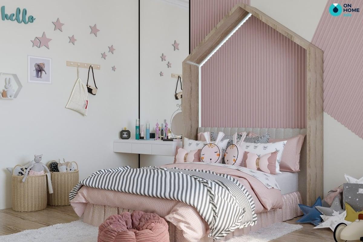 màu hồng cho phòng ngủ bé gái