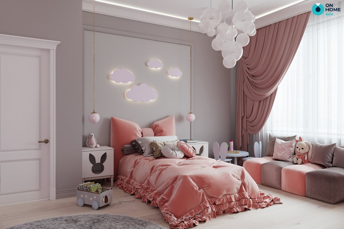 màu hồng cam cho phòng ngủ bé gái