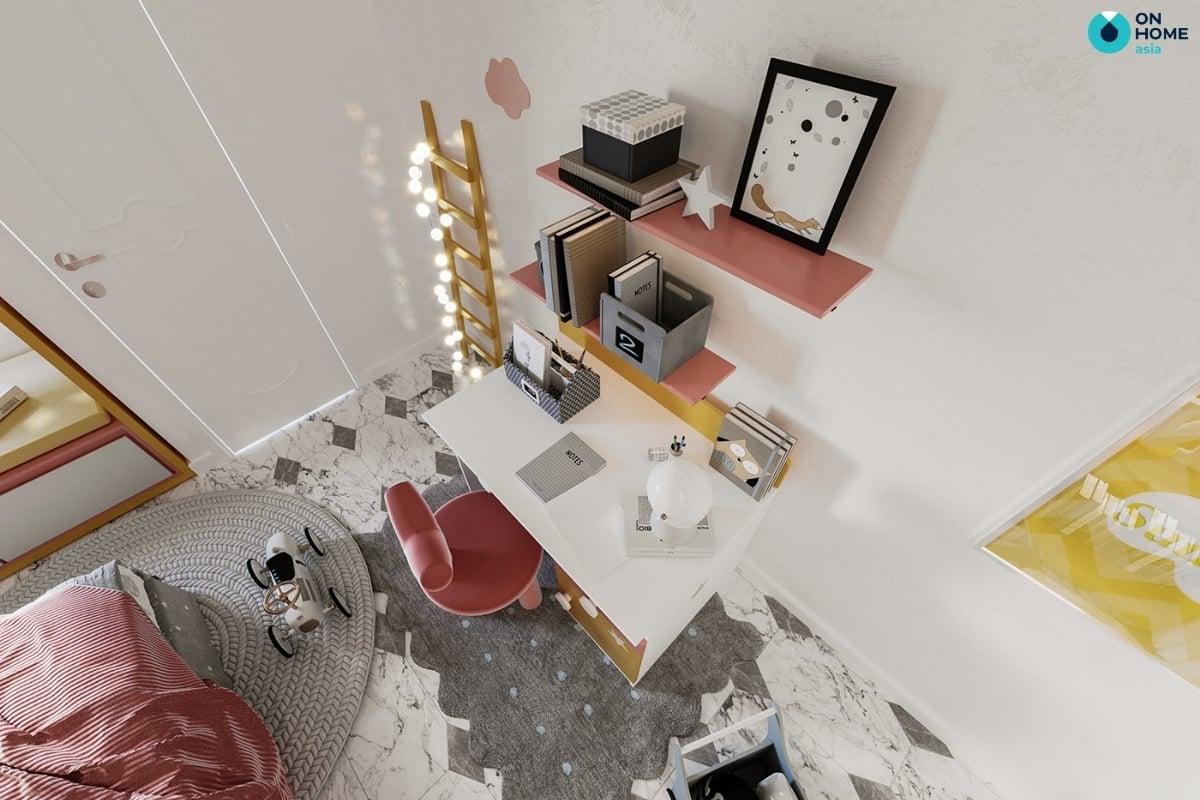 phòng ngủ màu hồng vàng xám