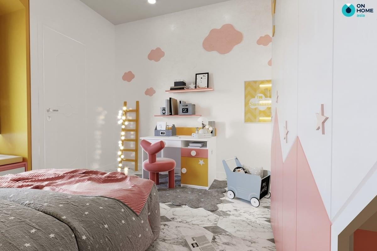 phòng ngủ bé gái 10 tuổi với màu hồng vàng