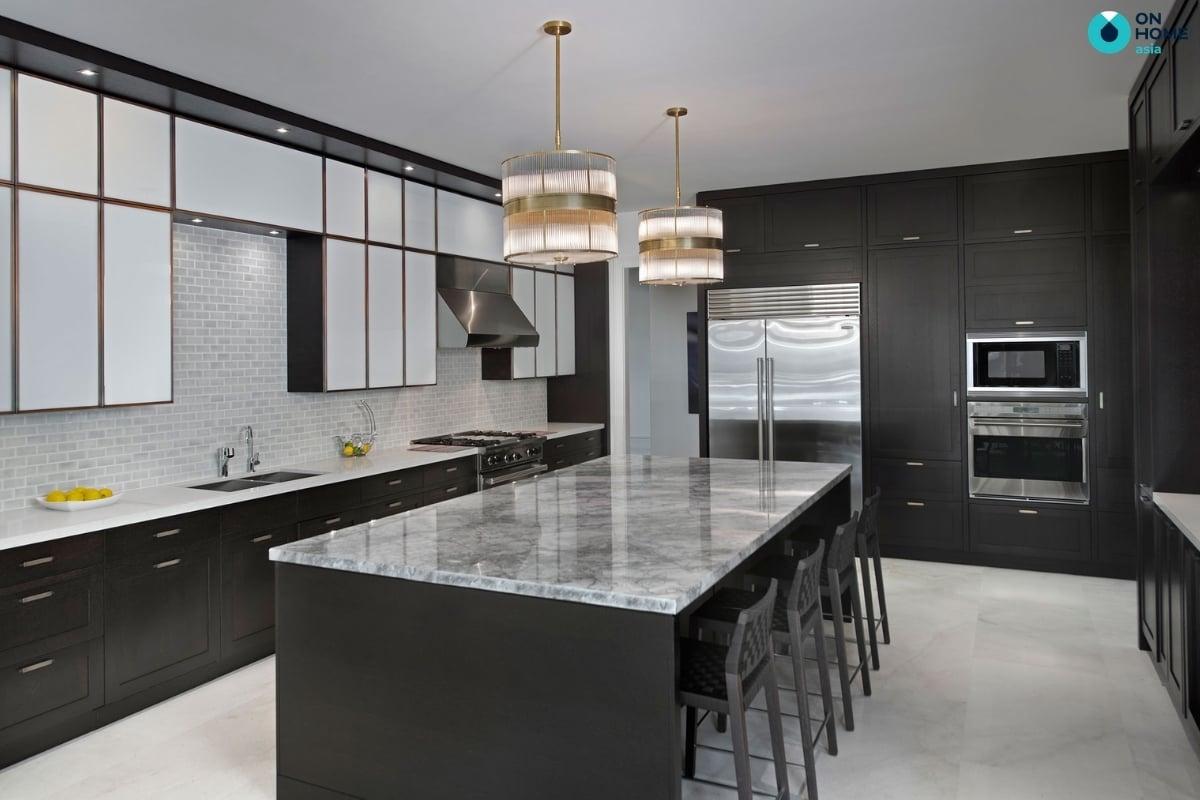 thiết kế phòng bếp màu đen