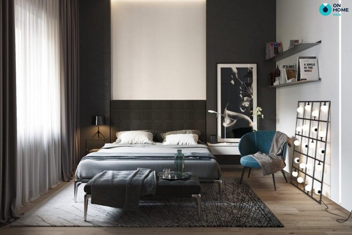 thảm phòng ngủ đen đẹp mắt