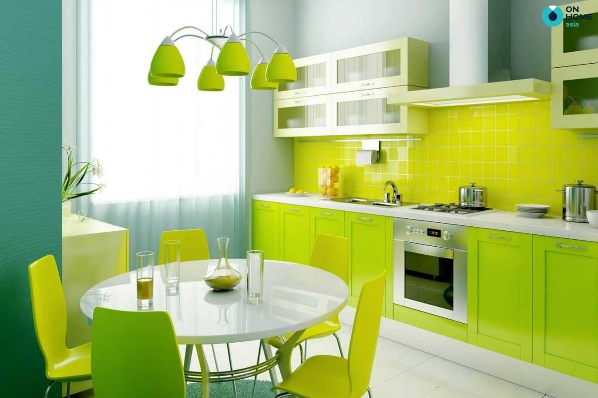 mẫu phòng bếp màu xanh lá cây