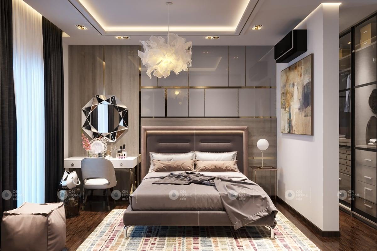Phòng ngủ master được thiết kế sang trọng và tiện nghi