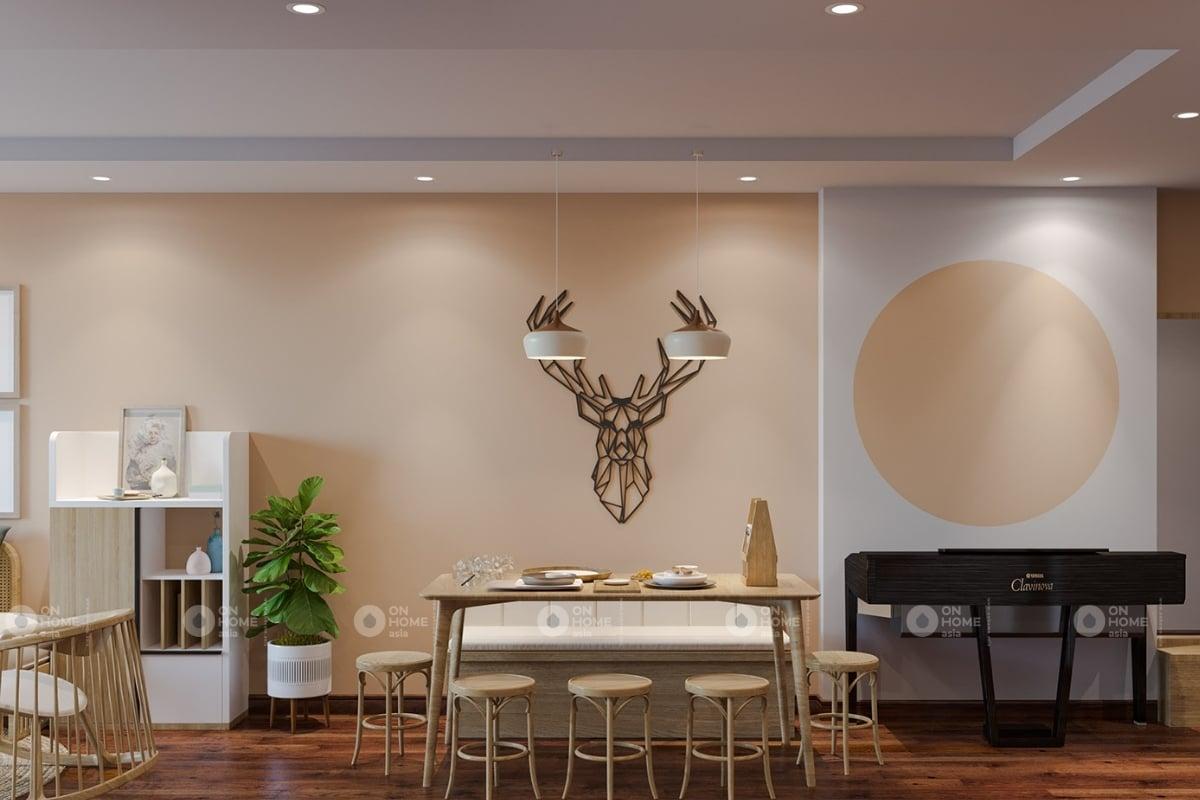 Một góc bàn ăn và phòng khách