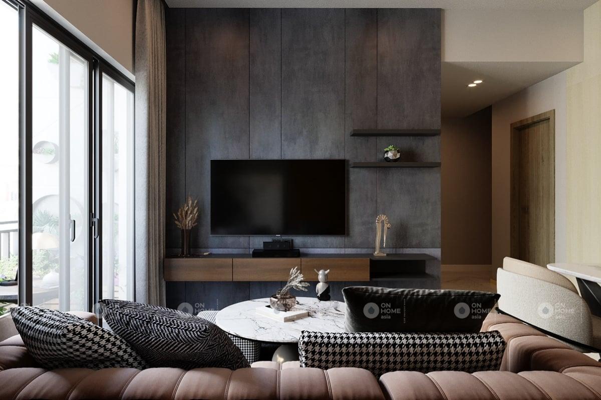 Thiết kế nội thất phòng khách chung cư 60m2