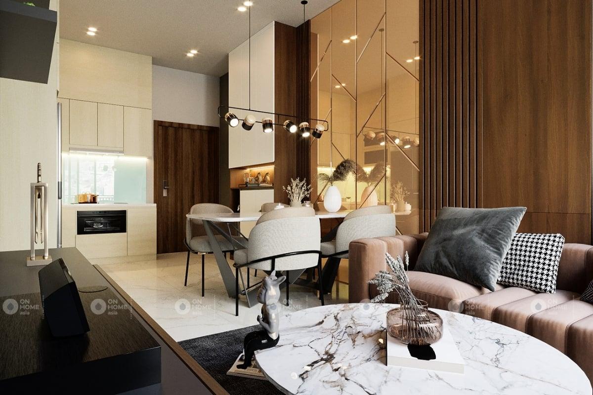 Thiết kế phòng khách và bàn ăn theo không gian mở