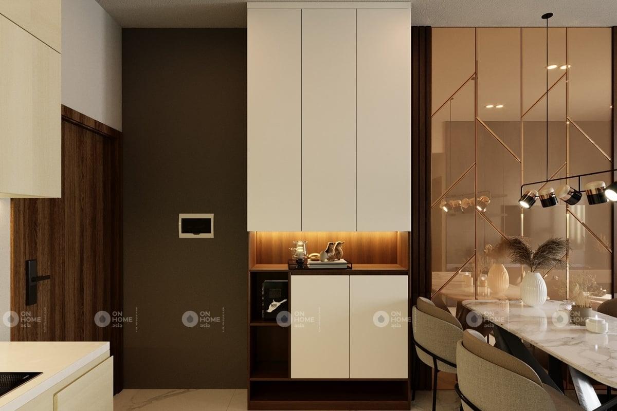Tủ bếp được thiết kế tận dụng không gian góc triệt để