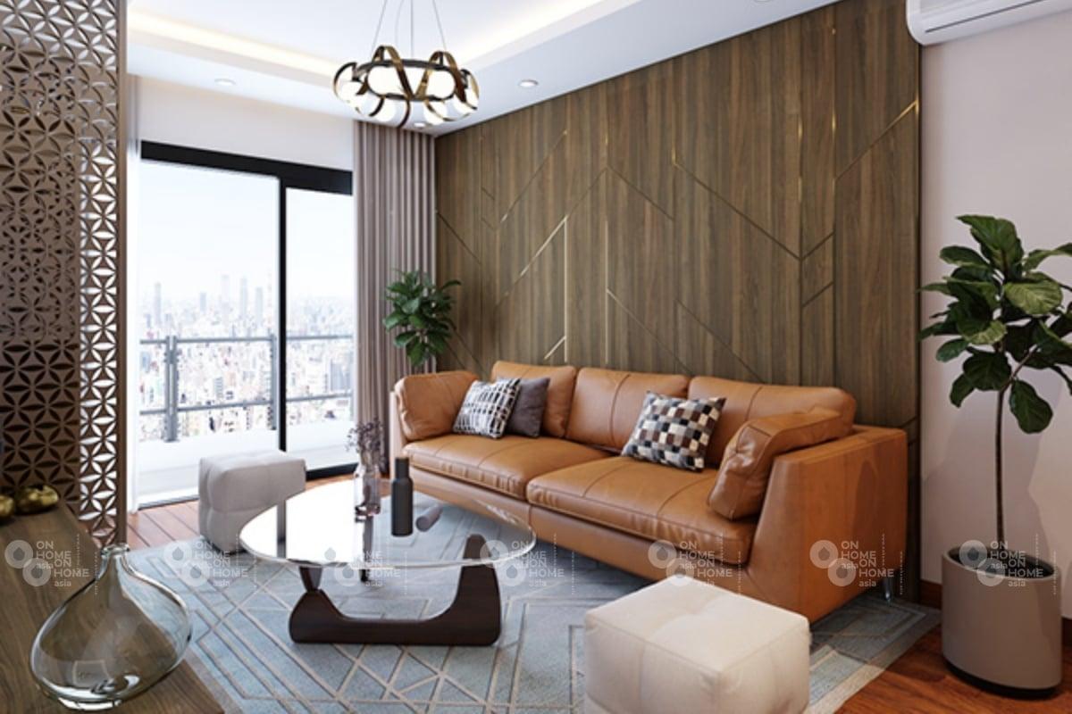 Nội thất phòng khách với màu nâu sang trọng