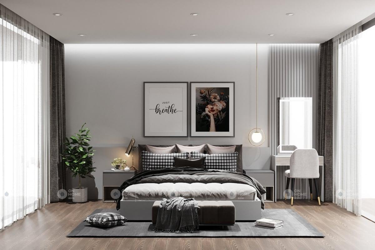 Phòng ngủ master thiết kế sang trọng