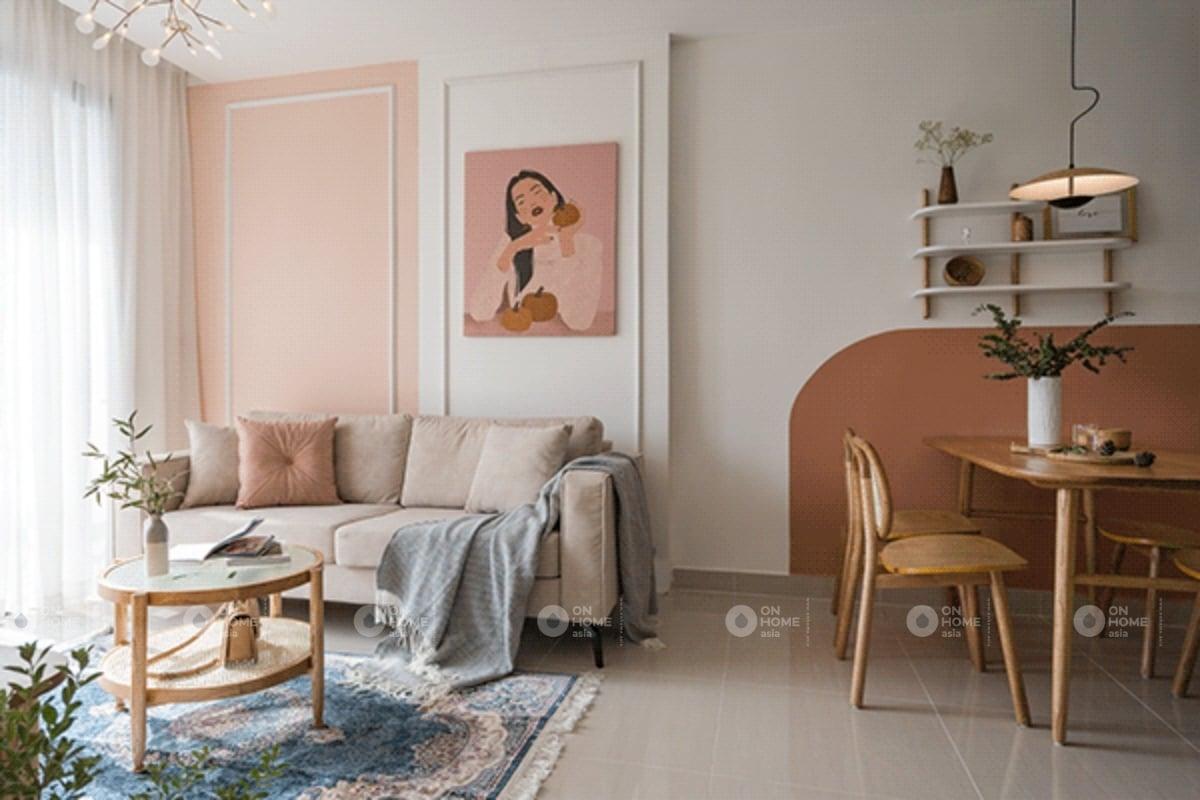 Thiết kế phòng khách chung cư với màu hồng dịu dàng