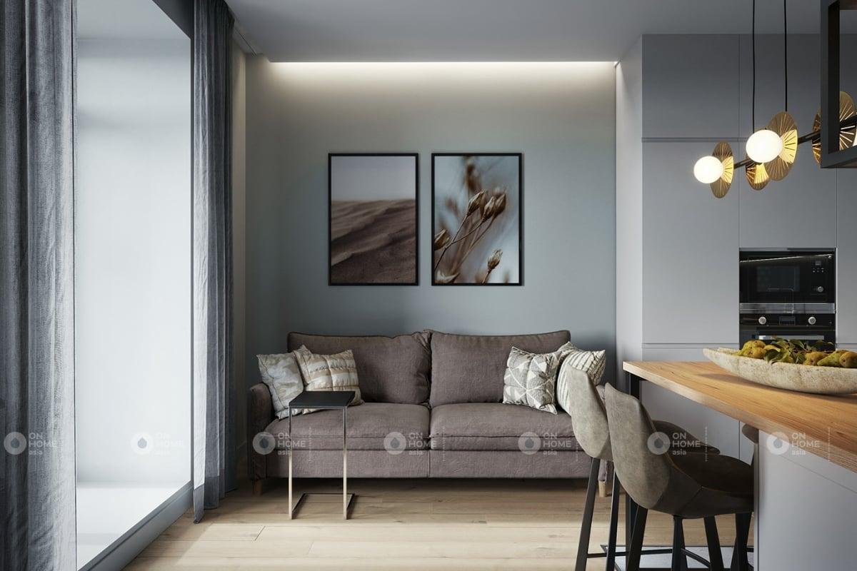 Không gian phòng khách với màu xám