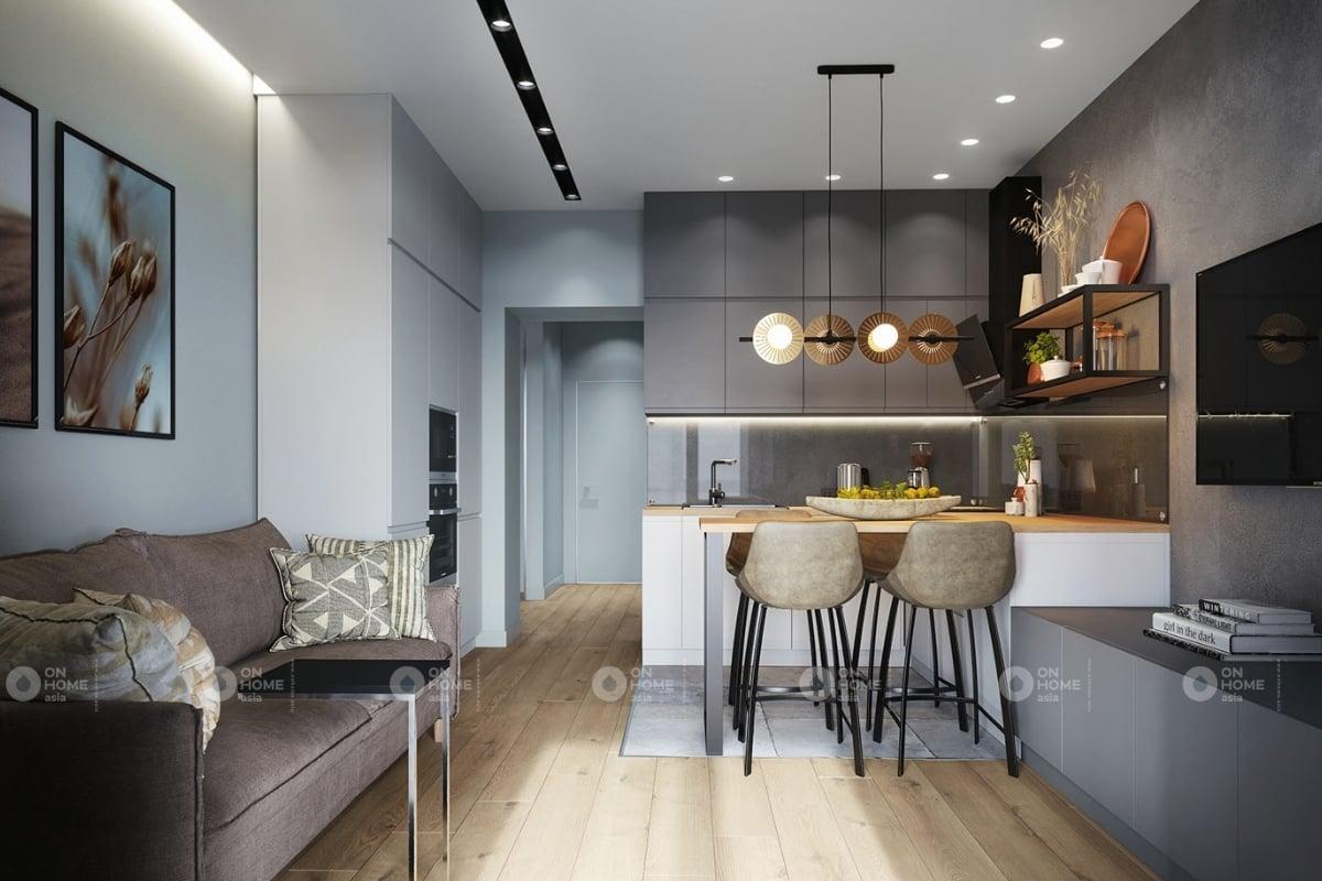 Phòng khách và phòng bếp được thiết kế liền kề với nhau