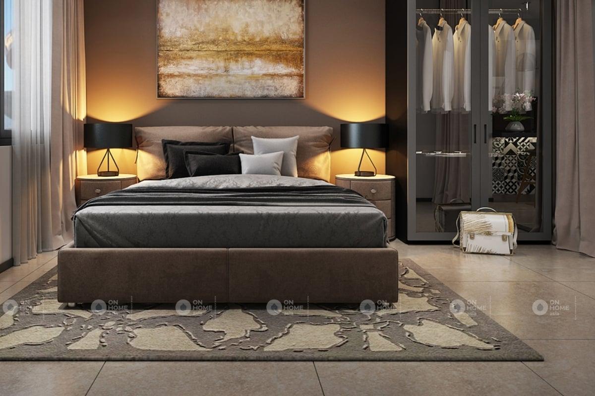Nội thất phòng ngủ với tông màu trầm ấm