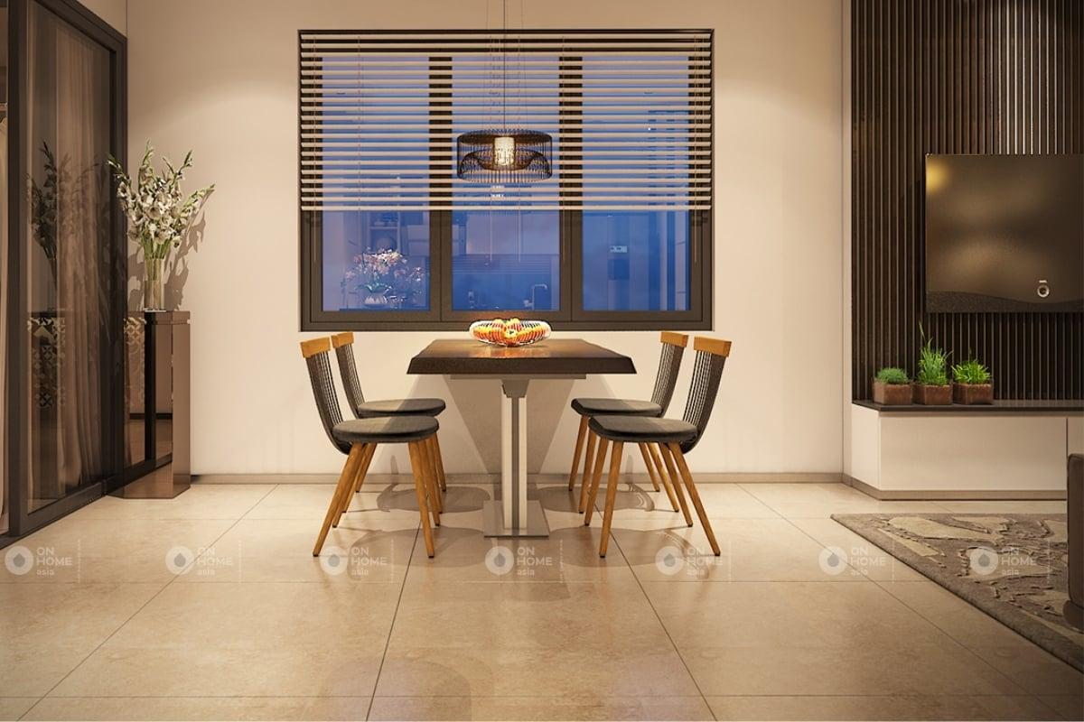 Bàn ăn ngăn cách giữa phòng khách và bếp