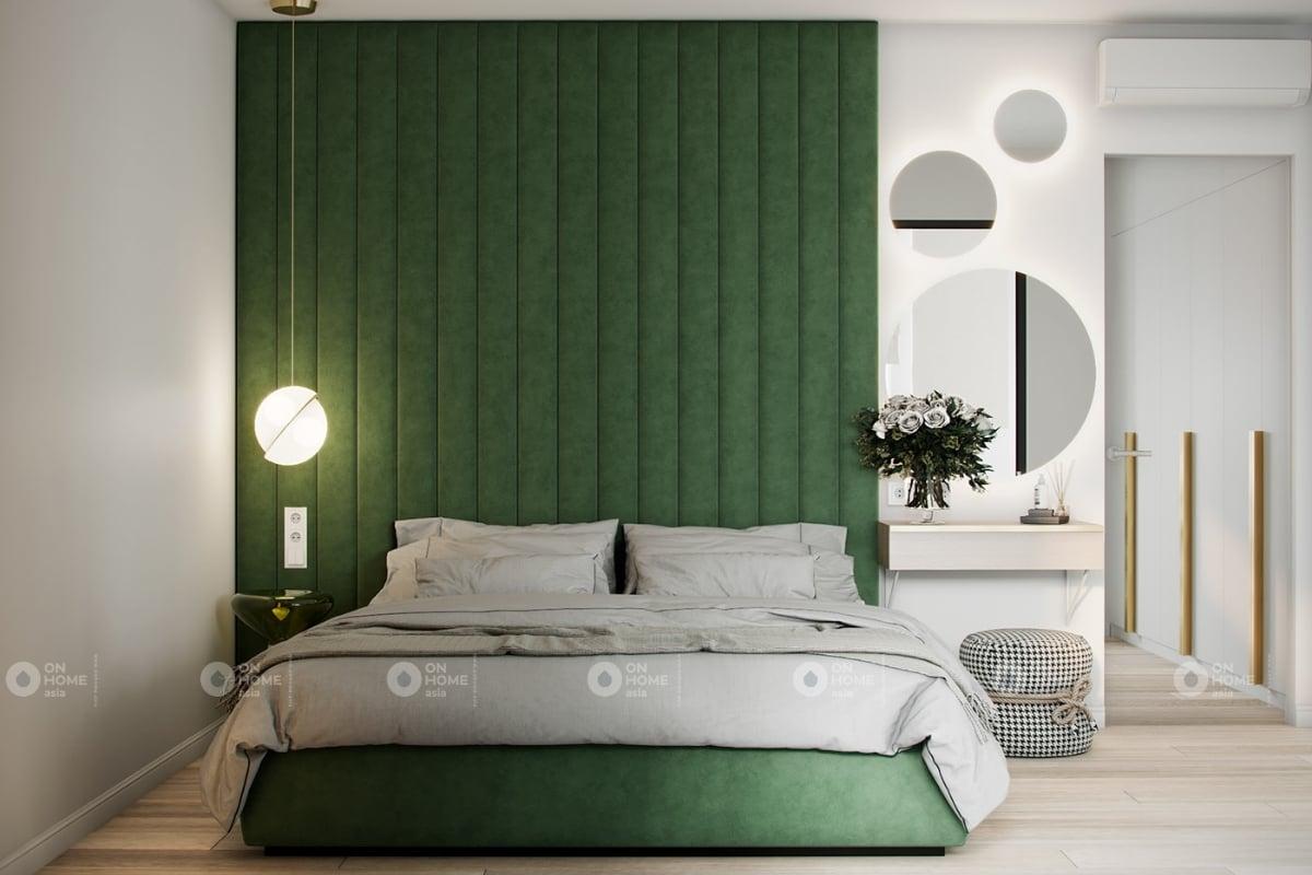 Thiết kế phòng ngủ với hai gam màu xanh và trắng