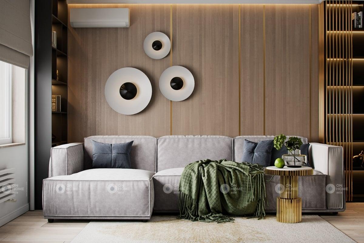 Phòng khách chung cư với sự kết hợp hoàn hảo của kim loại và gỗ