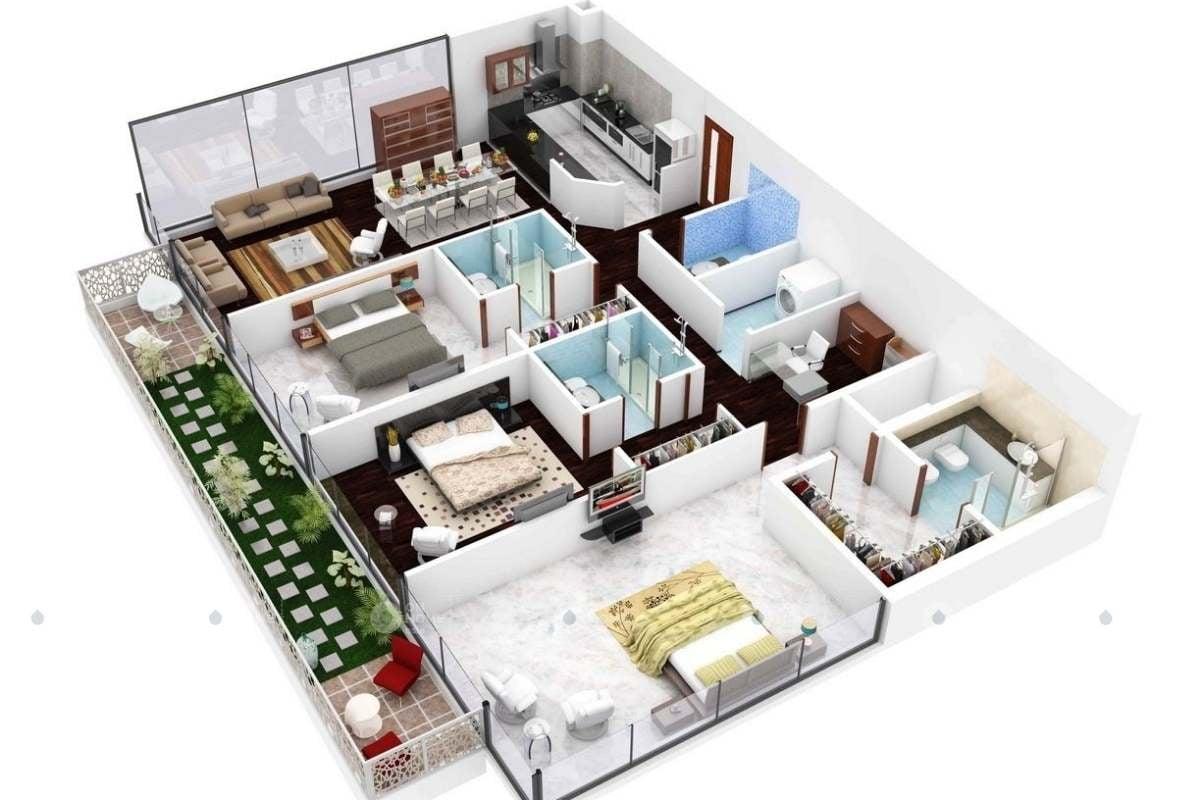 Ngăn chia nội thất căn hộ 90m2 cho gia đình có 2 con nhỏ