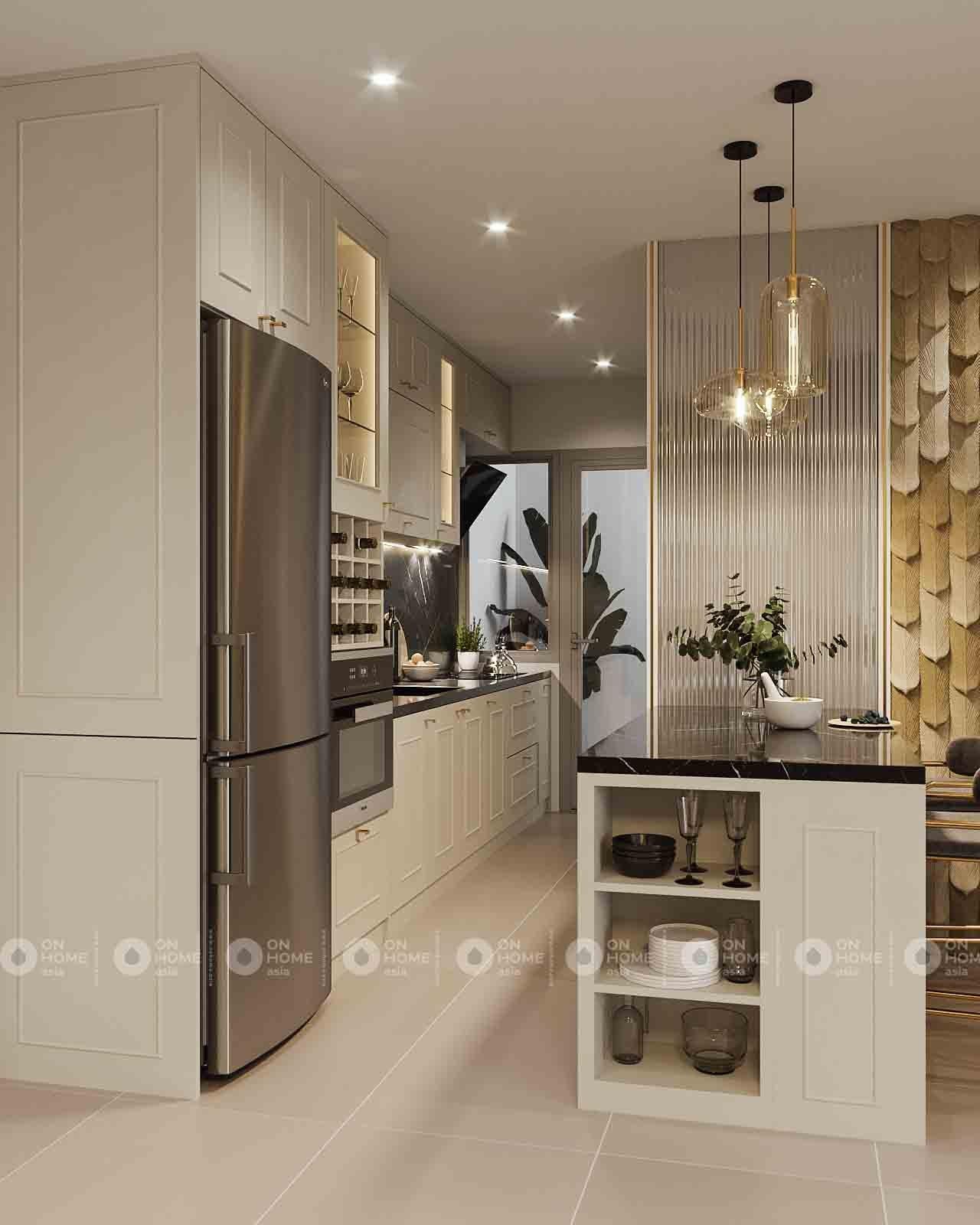 thiết kế nhà bếp hiện đại căn hộ compass one