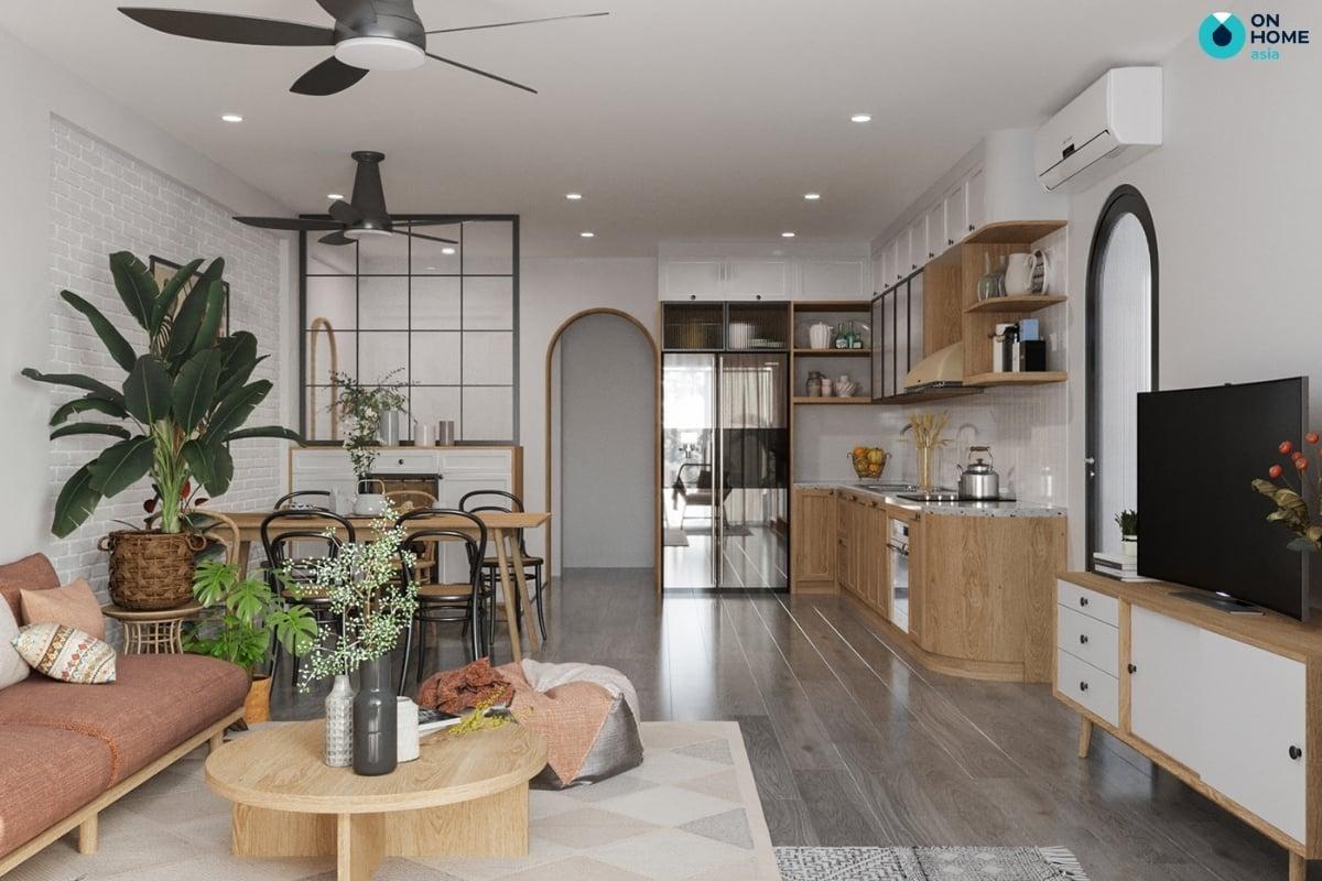phòng bếp nhà ống làm từ gỗ