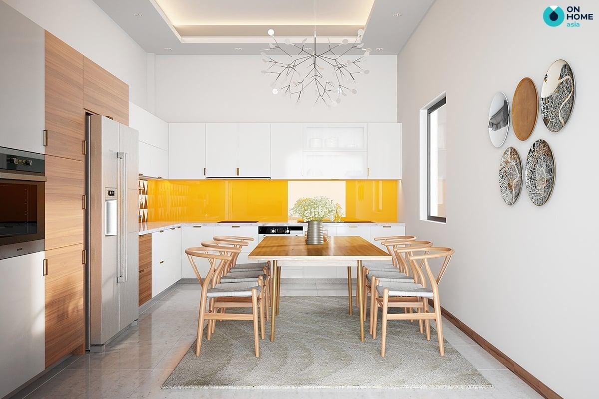 không gian phòng bếp nhà ống hiện đại