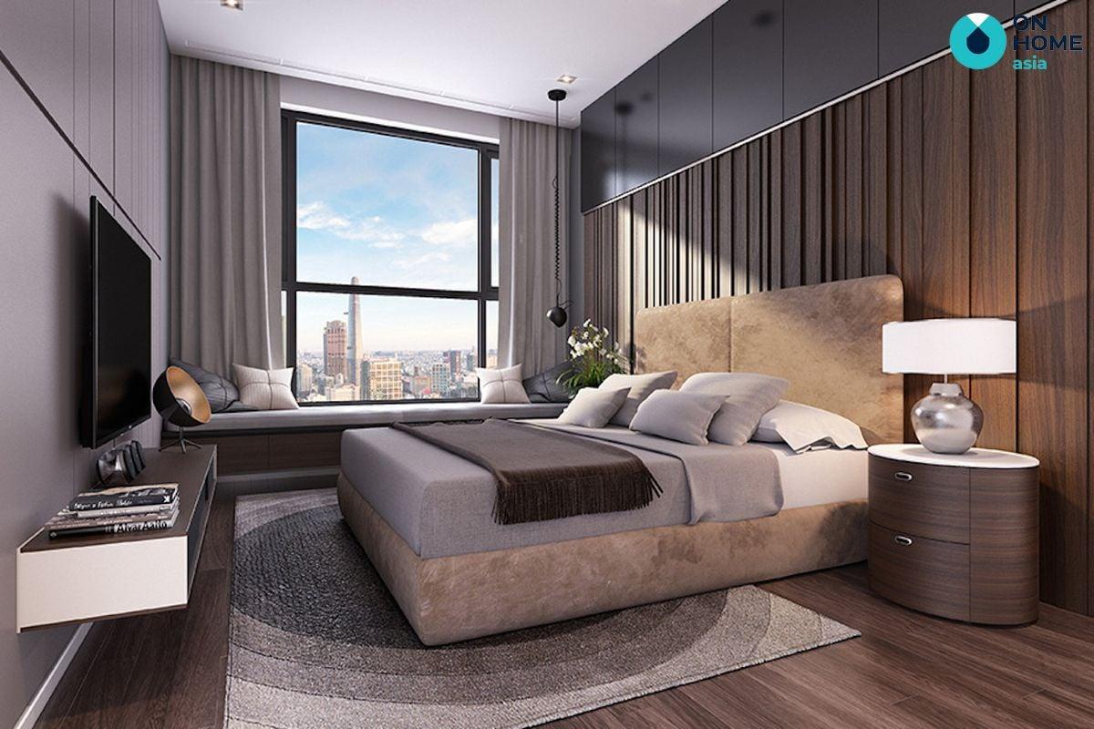 nội thất phòng ngủ của căn hộ 1 phòng ngủ