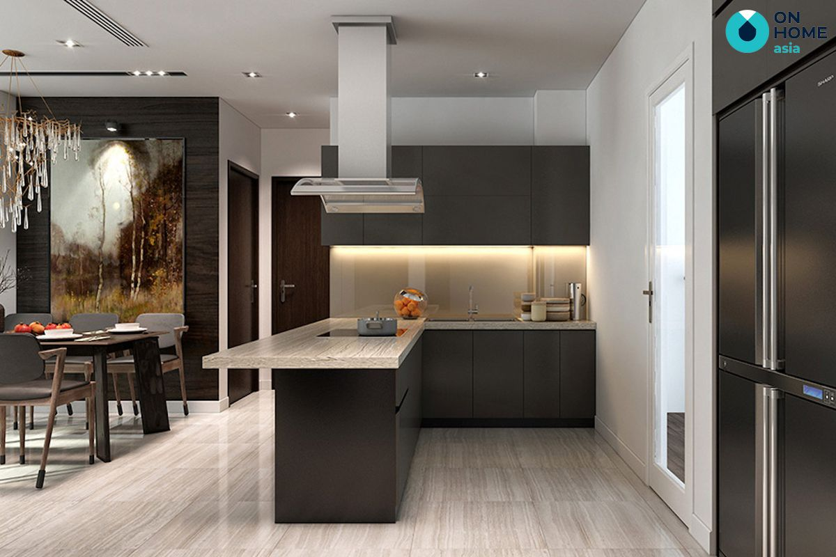 nội thất bếp của căn hộ 1 phòng ngủ