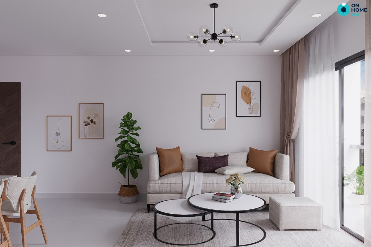 Nội thất phòng khách căn hộ Compass One loại 2BRC - Mẫu 4
