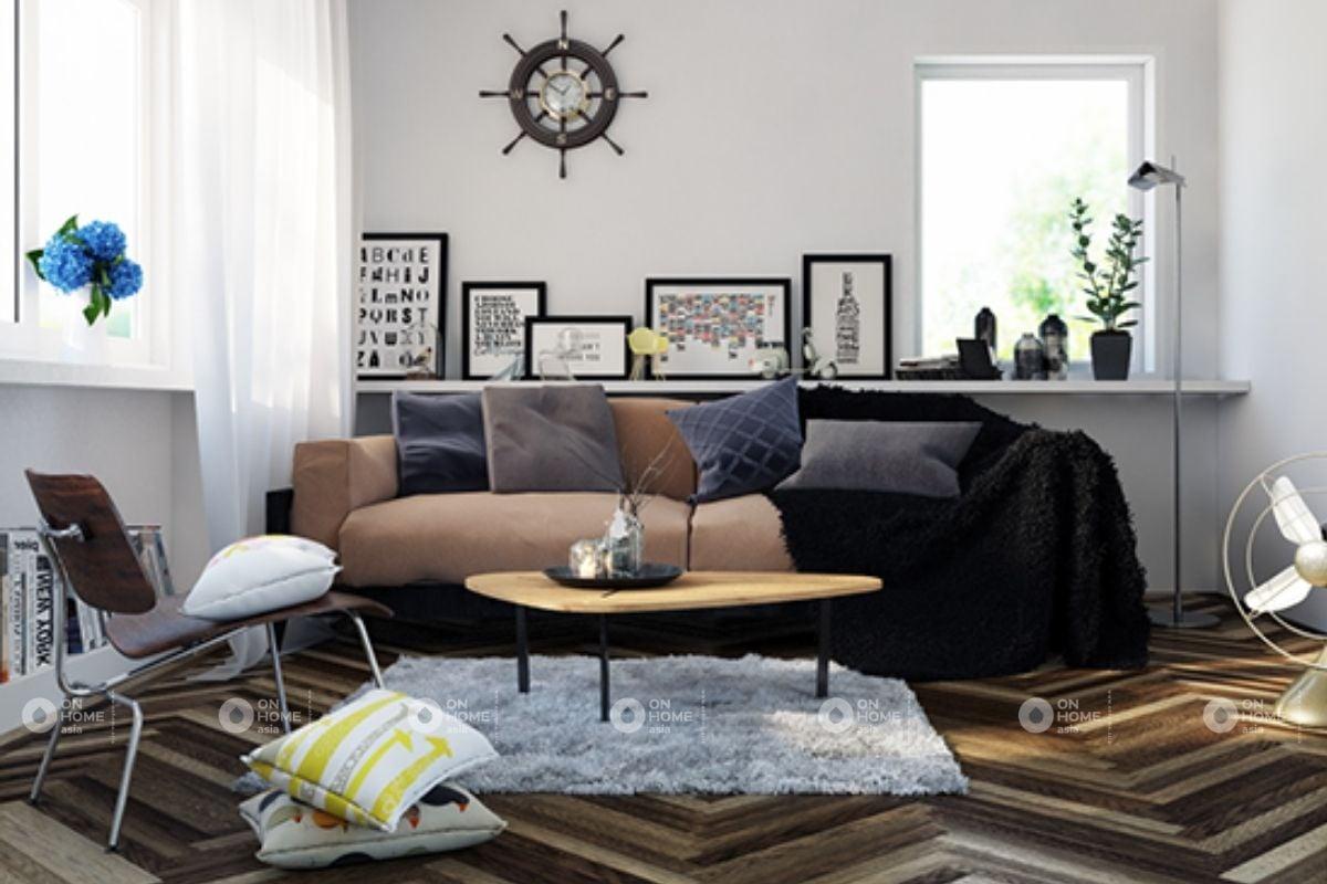 Phòng khách chung cư phù hợp với xây dựng