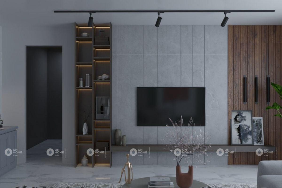 Thiết kế nội thất với không gian phòng khách hình học