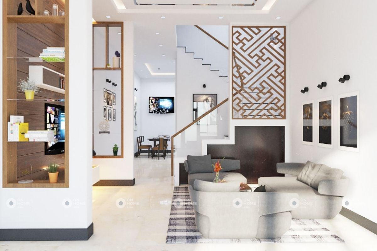 Cầu thang phòng khách hiện đại