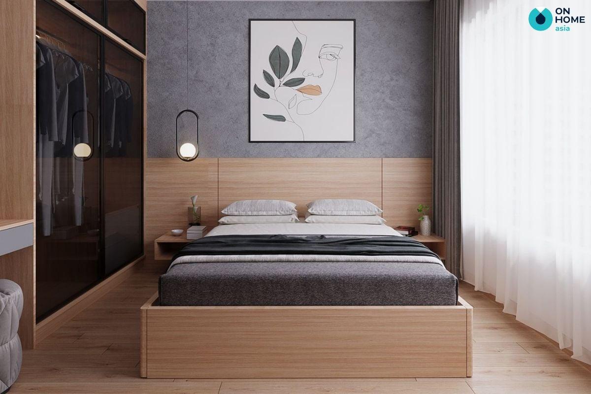 Không gian phòng ngủ Compass One 29m2 với thiết kế bằng gỗ của gia đình anh Thế Mạnh