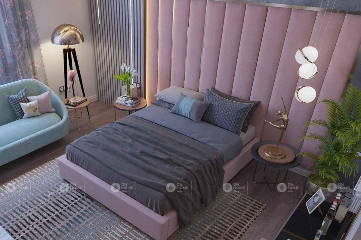 Nội thất phòng ngủ có màu hồng