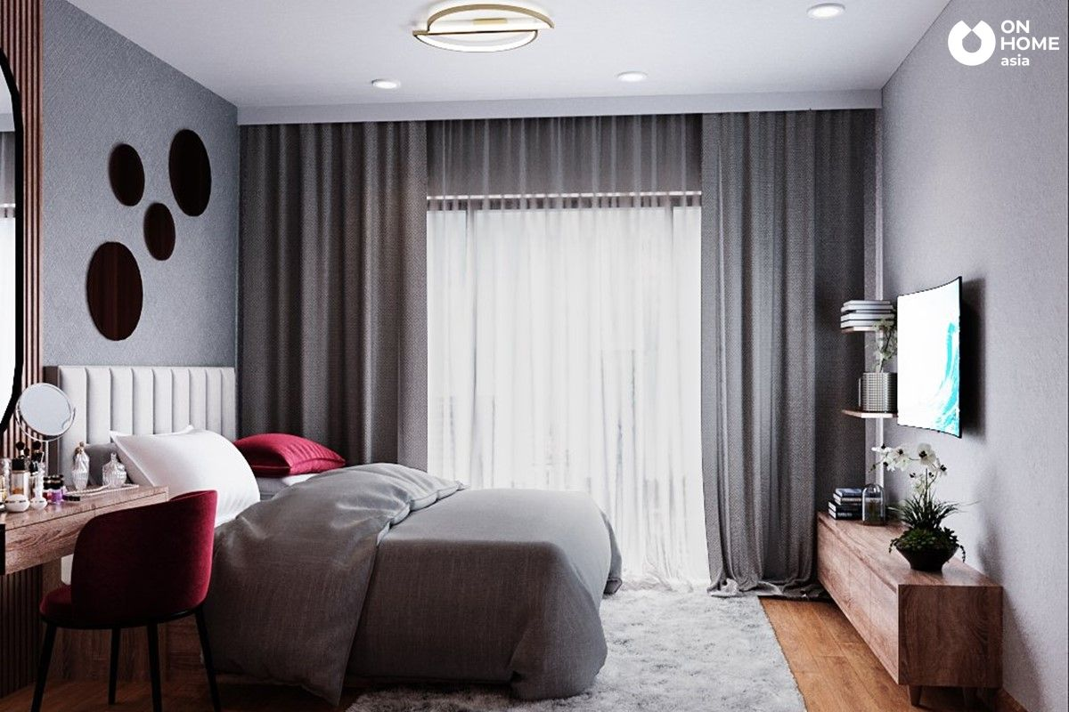 Phòng ngủ sử dụng gam màu trầm ấm