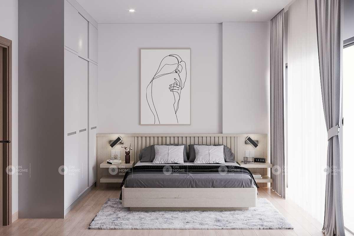 Thiết kế nội thất phòng ngủ master căn hộ chung cư Eco Xuân Lái Thiêu 2 phòng ngủ
