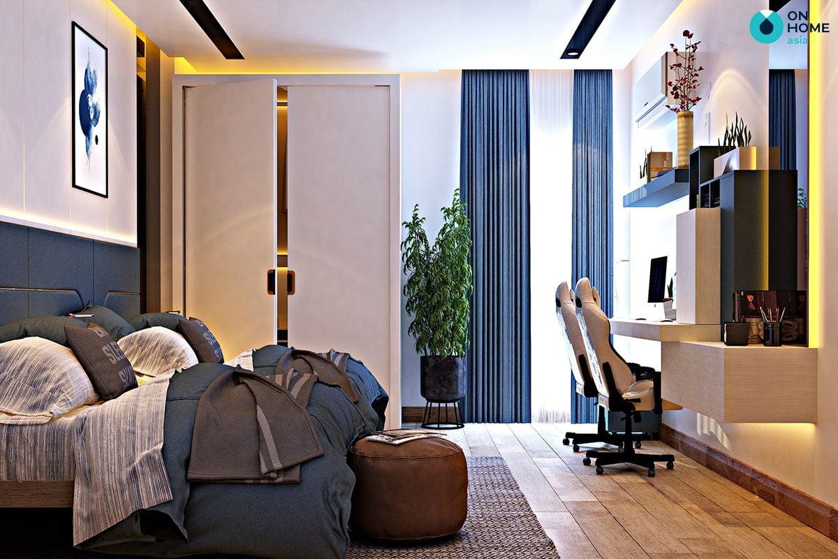 Gam màu xanh nhẹ nhàng cho nội thất phòng ngủ