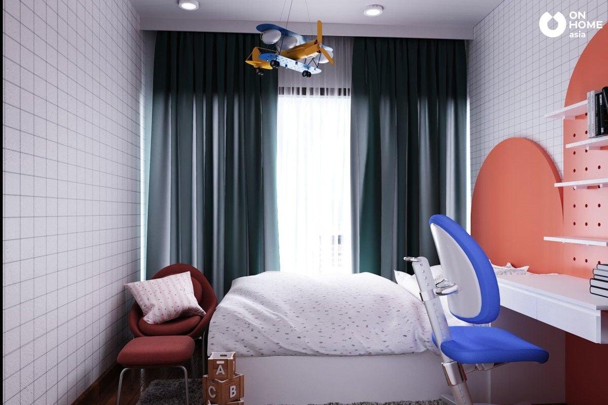 Phòng ngủ trẻ em được sử dụng gam màu tươi sáng