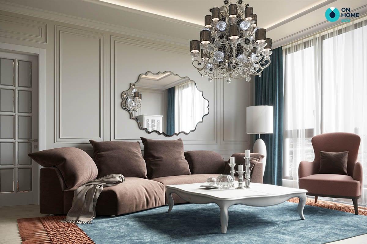 Phòng khách căn hộ của chị Mỹ Linh