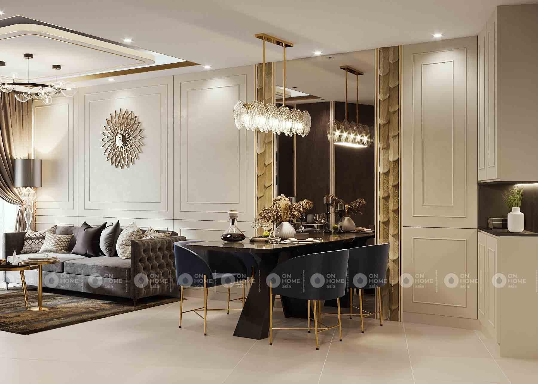 khu vực bàn ăn nối liền phòng khách căn hộ compass one