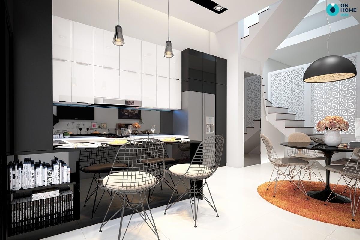 phòng bếp với quầy bar hiện đại