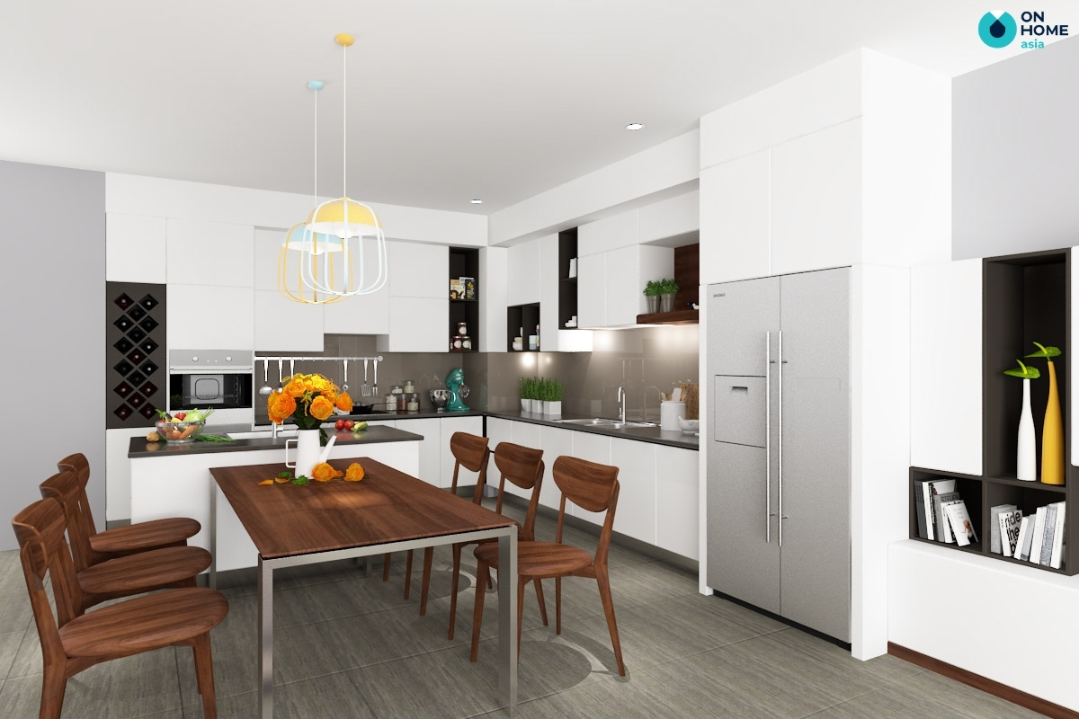 phòng bếp có thiết kế tủ lạnh âm tường