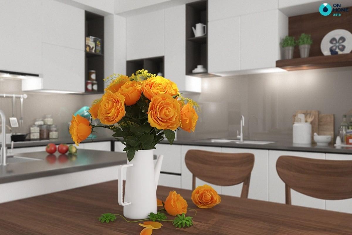 phòng bếp có bình hoa làm điểm nhấn