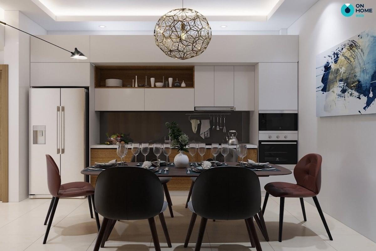 nhà bếp chung cư với tủ bếp công nghiệp